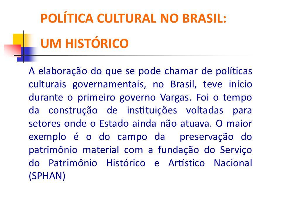 POLÍTICA CULTURAL NO BRASIL: UM HISTÓRICO