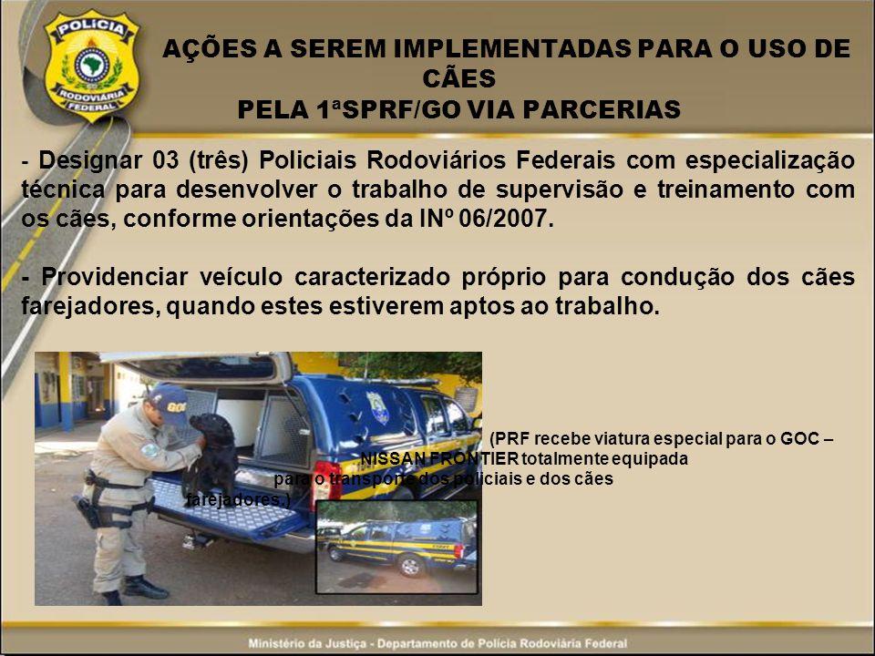 AÇÕES A SEREM IMPLEMENTADAS PARA O USO DE CÃES PELA 1ªSPRF/GO VIA PARCERIAS