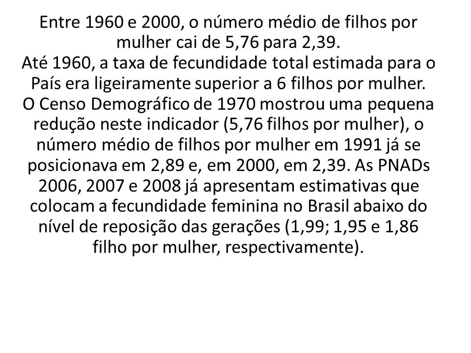 Entre 1960 e 2000, o número médio de filhos por mulher cai de 5,76 para 2,39.