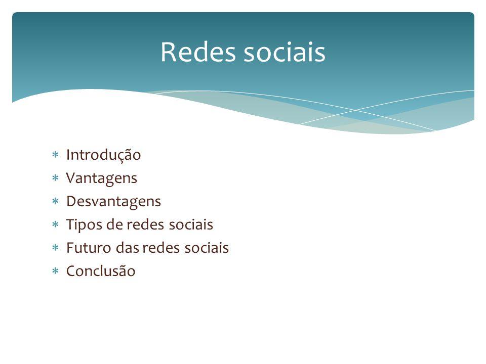 Redes sociais Introdução Vantagens Desvantagens Tipos de redes sociais