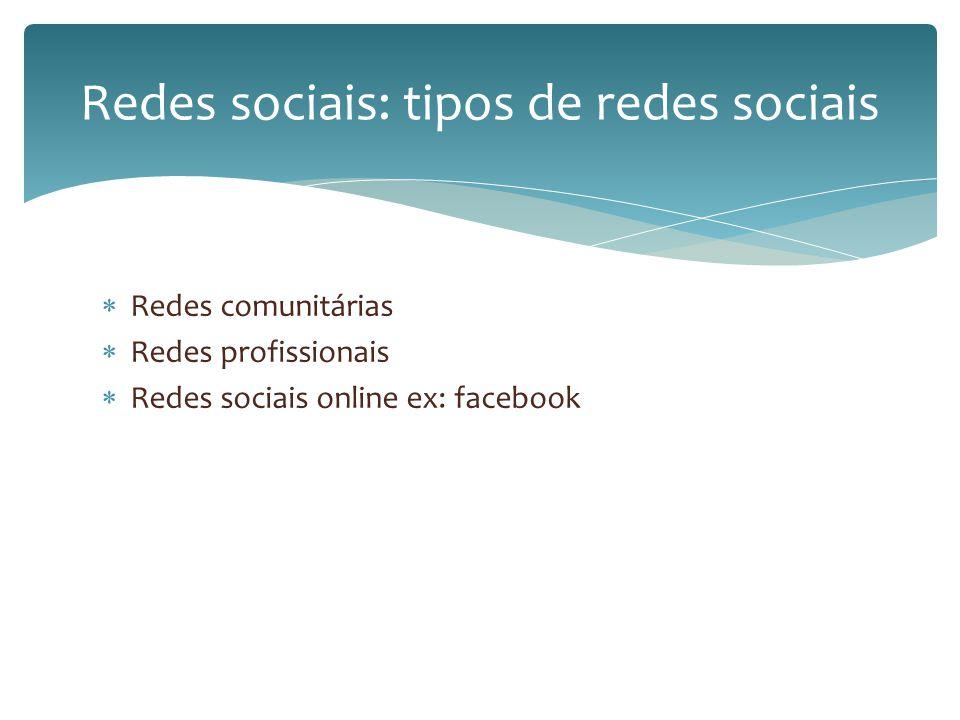 Redes sociais: tipos de redes sociais
