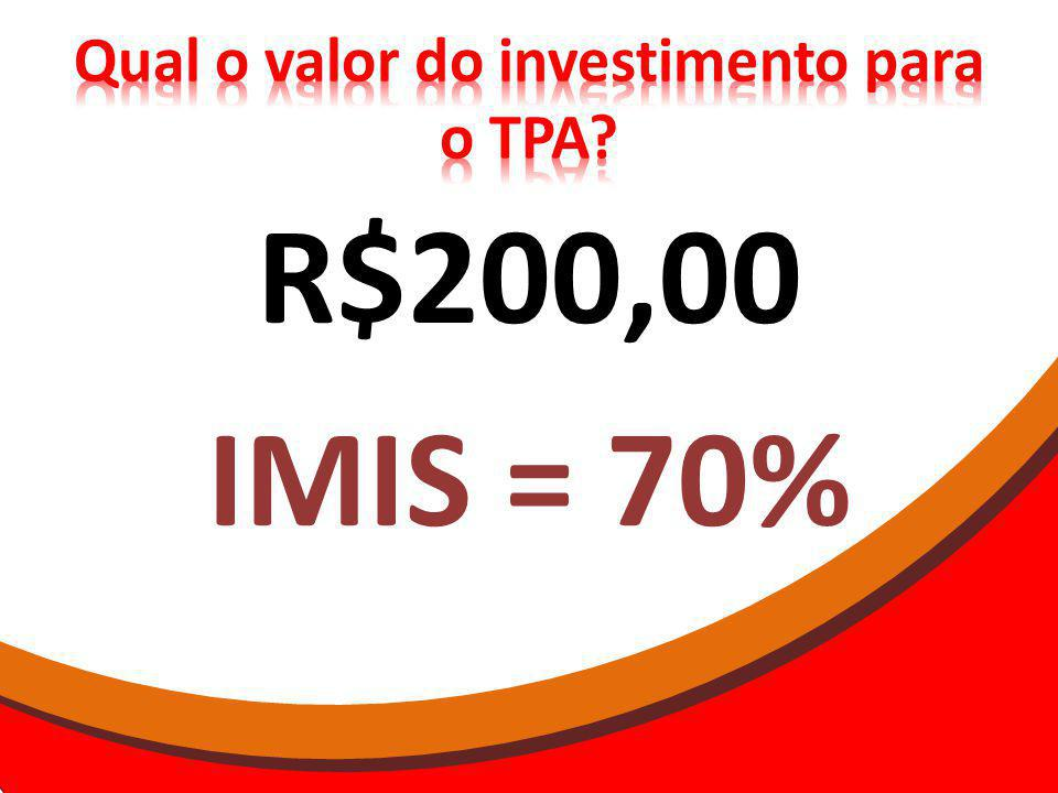 Qual o valor do investimento para o TPA
