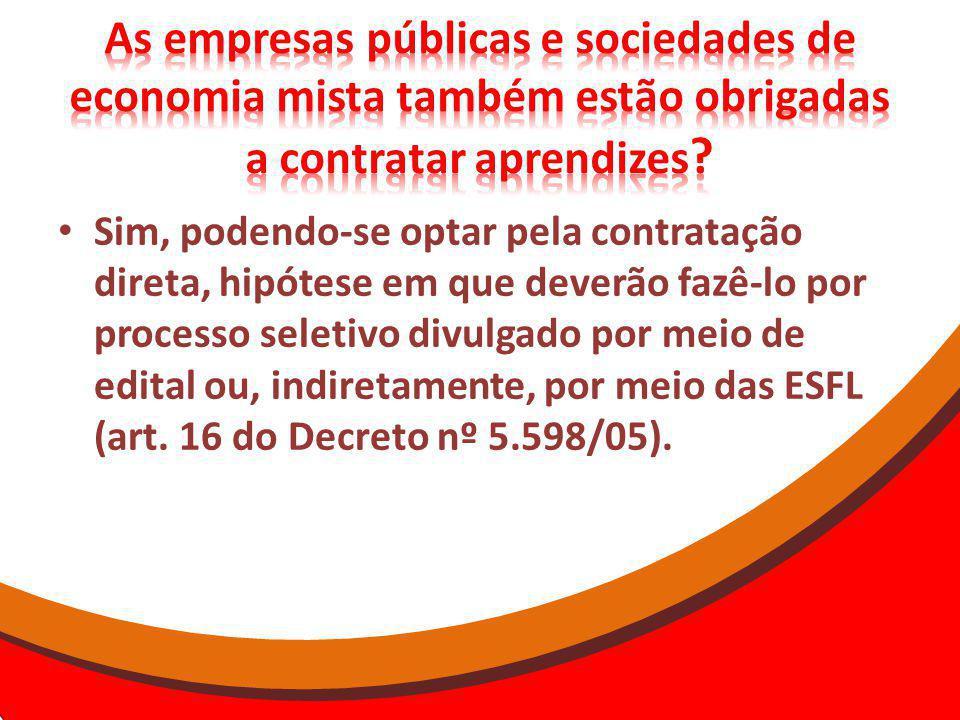 As empresas públicas e sociedades de economia mista também estão obrigadas a contratar aprendizes
