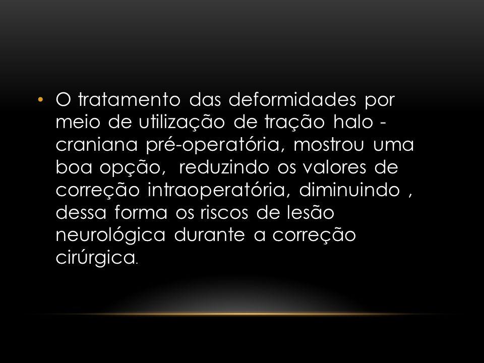 O tratamento das deformidades por meio de utilização de tração halo - craniana pré-operatória, mostrou uma boa opção, reduzindo os valores de correção intraoperatória, diminuindo , dessa forma os riscos de lesão neurológica durante a correção cirúrgica.