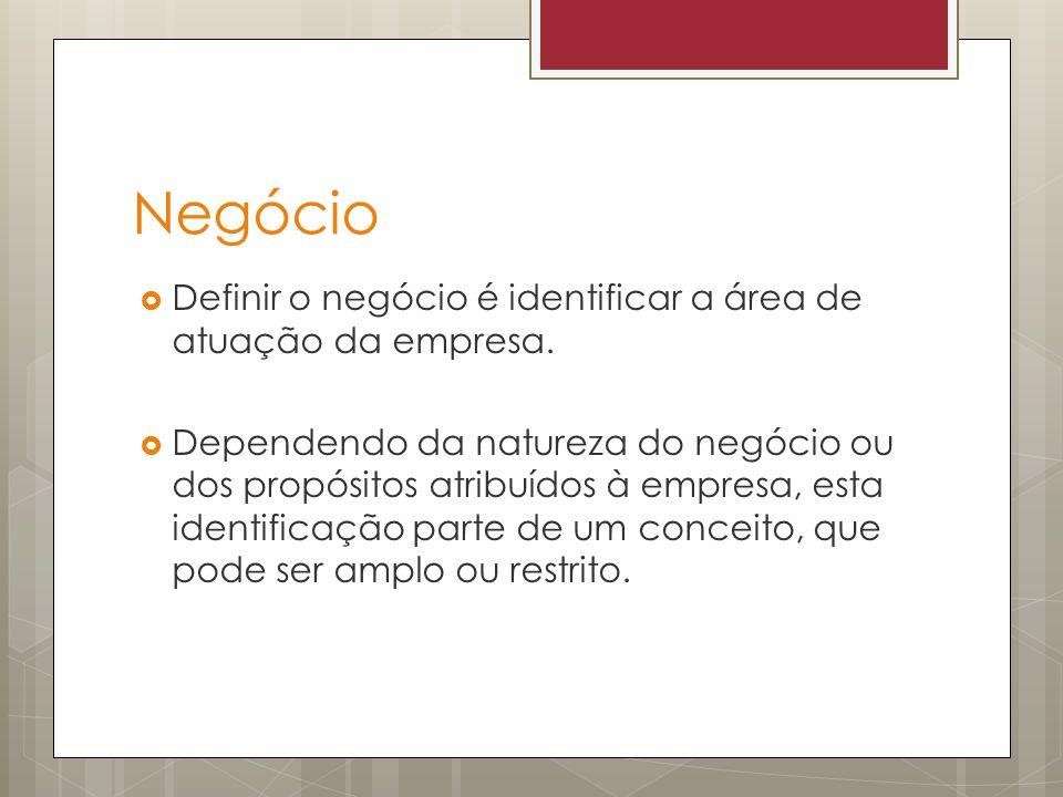 Negócio Definir o negócio é identificar a área de atuação da empresa.