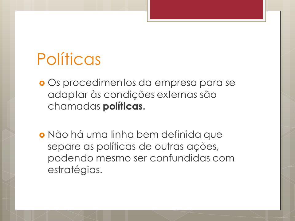 Políticas Os procedimentos da empresa para se adaptar às condições externas são chamadas políticas.
