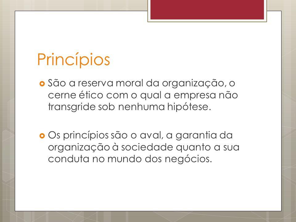 Princípios São a reserva moral da organização, o cerne ético com o qual a empresa não transgride sob nenhuma hipótese.
