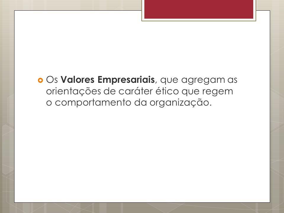 Os Valores Empresariais, que agregam as orientações de caráter ético que regem o comportamento da organização.