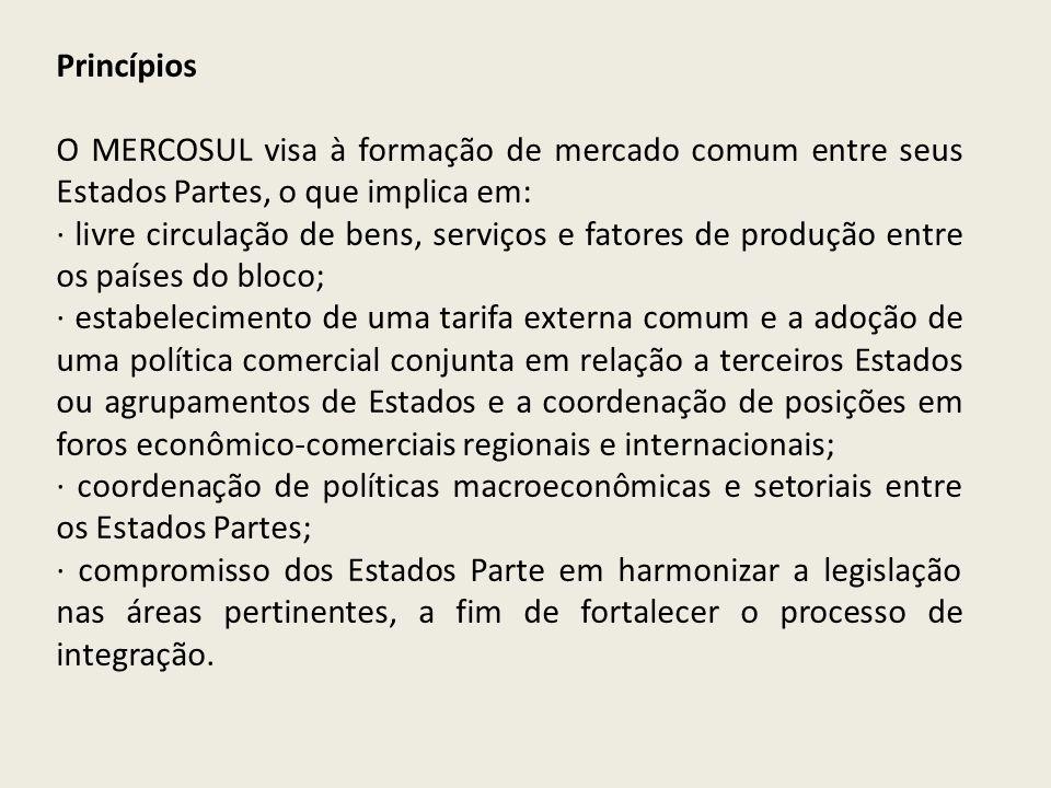 Princípios O MERCOSUL visa à formação de mercado comum entre seus Estados Partes, o que implica em: