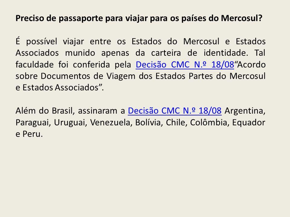 Preciso de passaporte para viajar para os países do Mercosul
