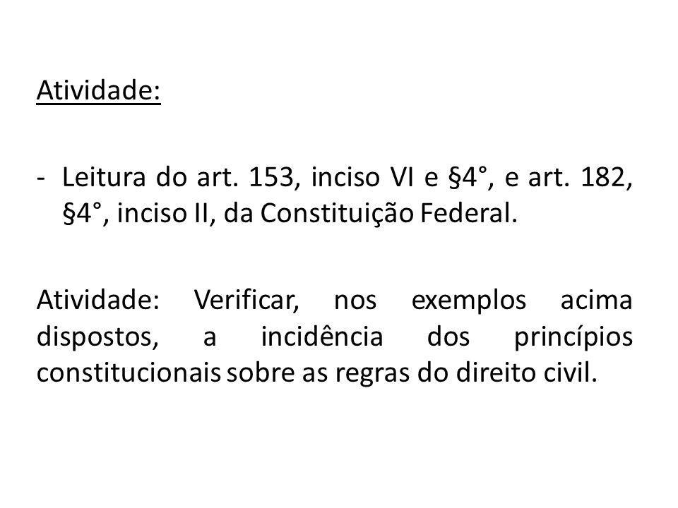 Atividade: Leitura do art. 153, inciso VI e §4°, e art. 182, §4°, inciso II, da Constituição Federal.