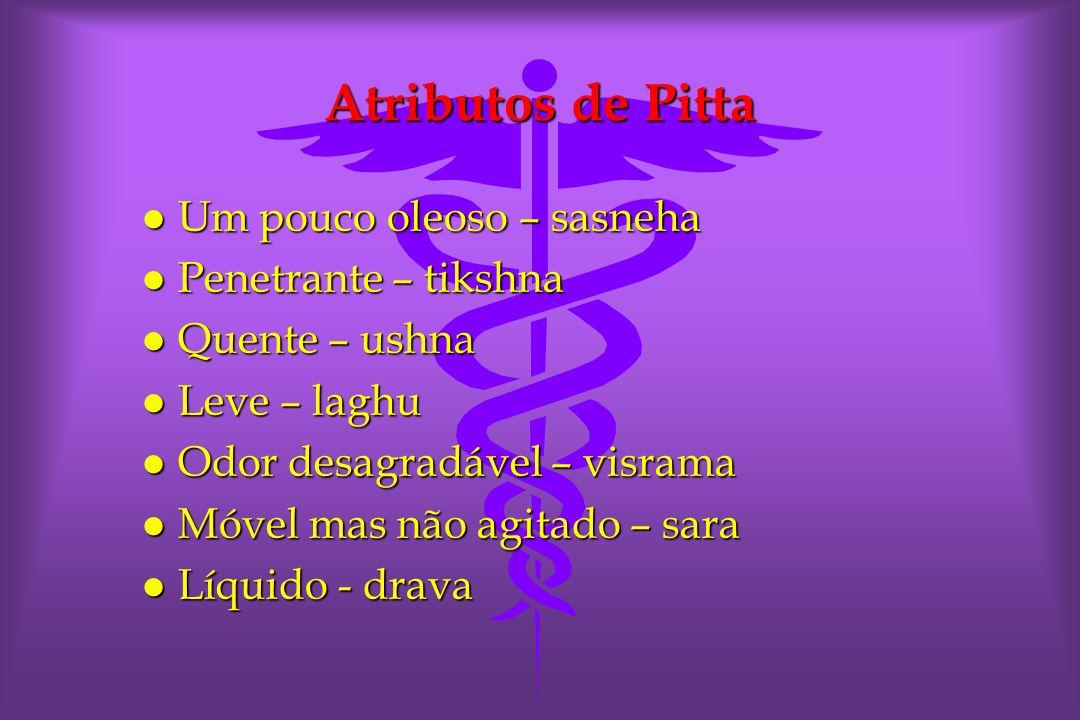 Atributos de Pitta Um pouco oleoso – sasneha Penetrante – tikshna