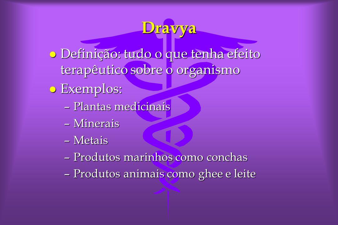 Dravya Definição: tudo o que tenha efeito terapêutico sobre o organismo. Exemplos: Plantas medicinais.