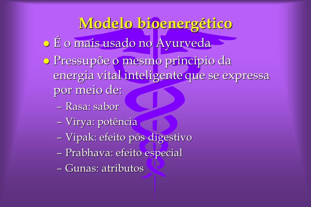 Modelo bioenergético É o mais usado no Ayurveda