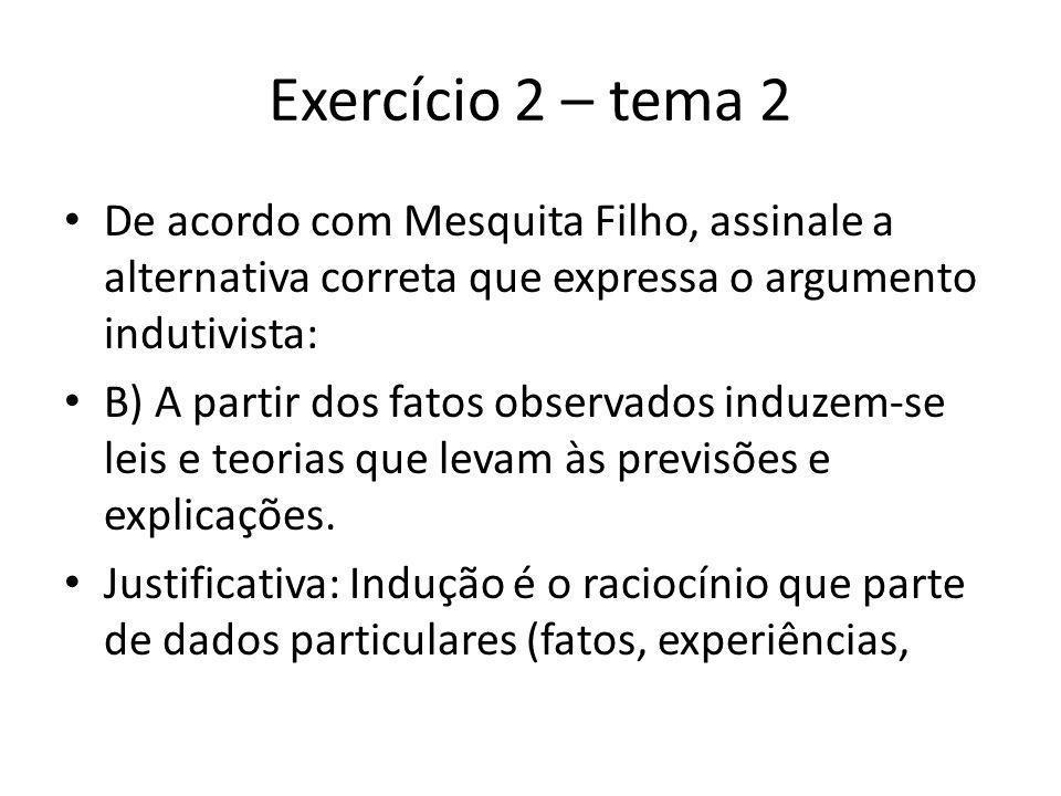 Exercício 2 – tema 2 De acordo com Mesquita Filho, assinale a alternativa correta que expressa o argumento indutivista: