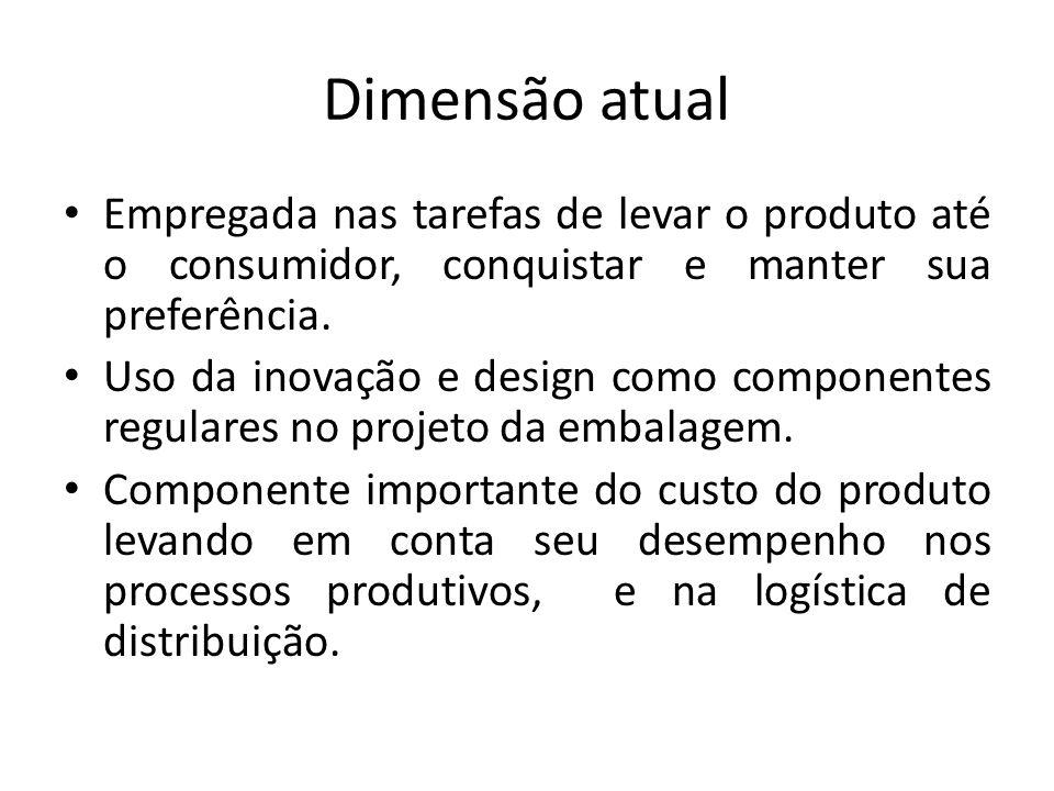Dimensão atual Empregada nas tarefas de levar o produto até o consumidor, conquistar e manter sua preferência.