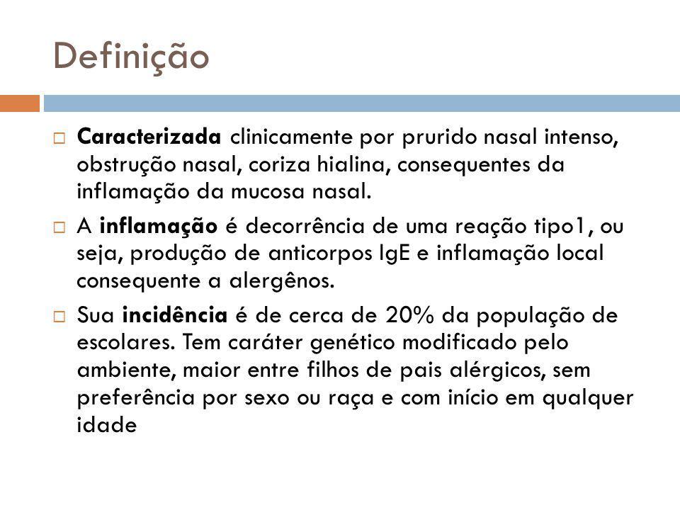 Definição Caracterizada clinicamente por prurido nasal intenso, obstrução nasal, coriza hialina, consequentes da inflamação da mucosa nasal.