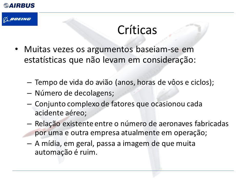 Críticas Muitas vezes os argumentos baseiam-se em estatísticas que não levam em consideração: Tempo de vida do avião (anos, horas de vôos e ciclos);