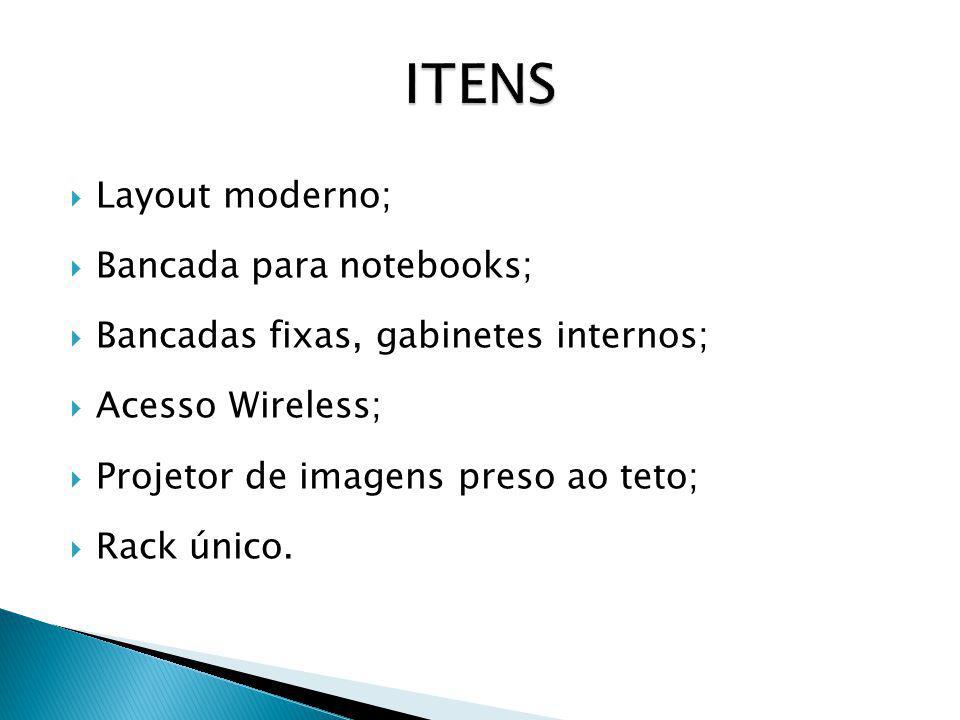 ITENS Layout moderno; Bancada para notebooks;