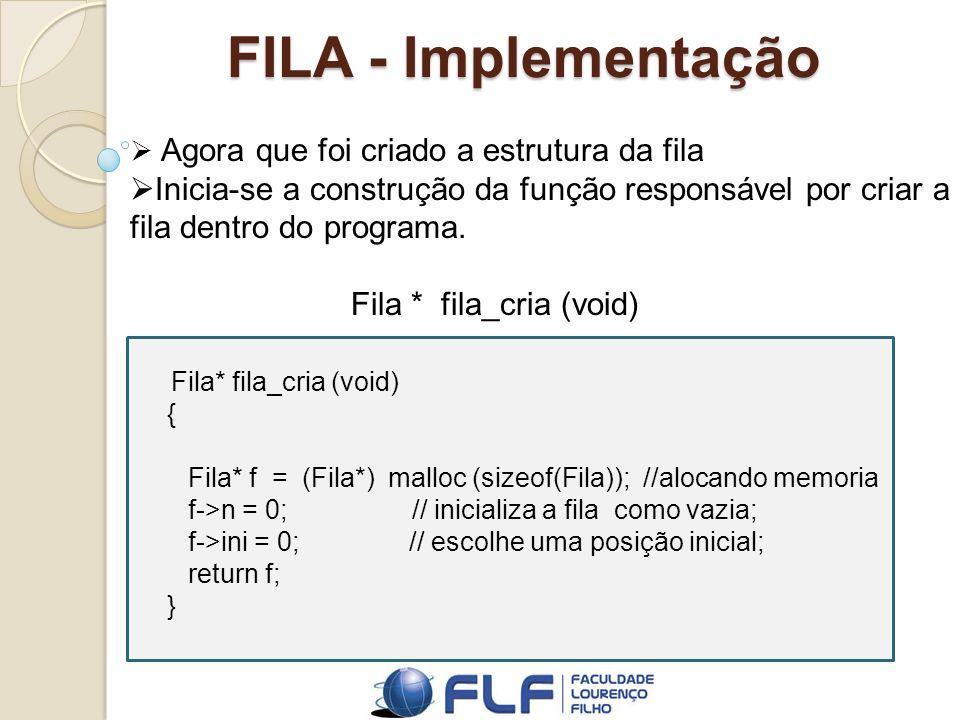 FILA - Implementação Agora que foi criado a estrutura da fila. Inicia-se a construção da função responsável por criar a fila dentro do programa.
