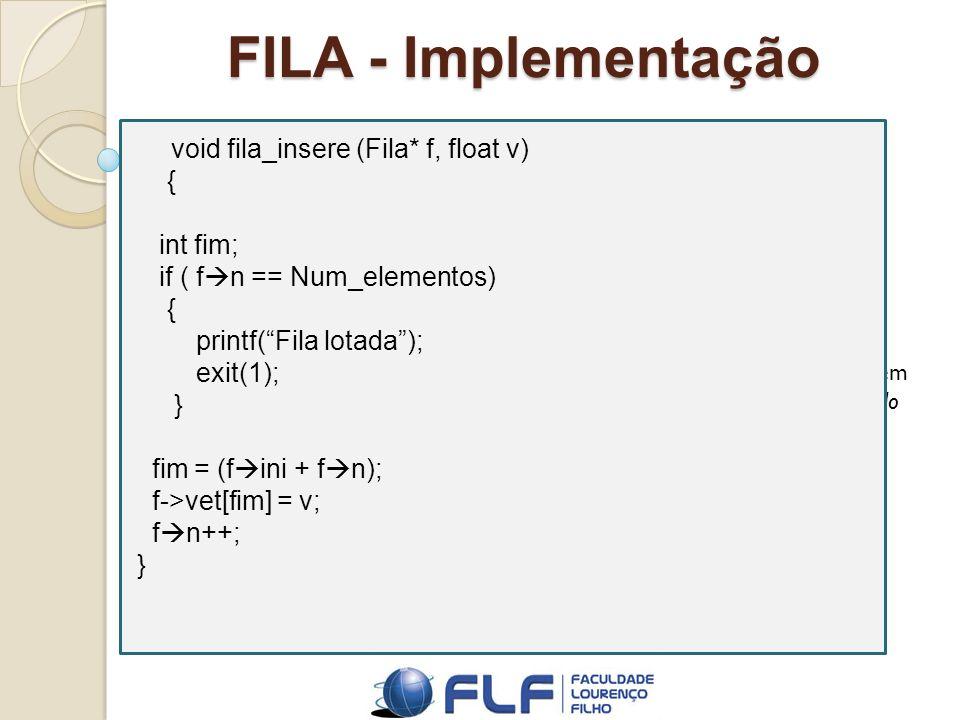 FILA - Implementação { int fim; if ( fn == Num_elementos)