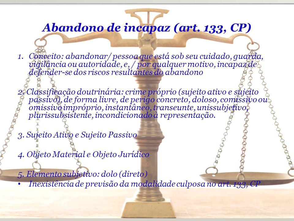 Abandono de incapaz (art. 133, CP)
