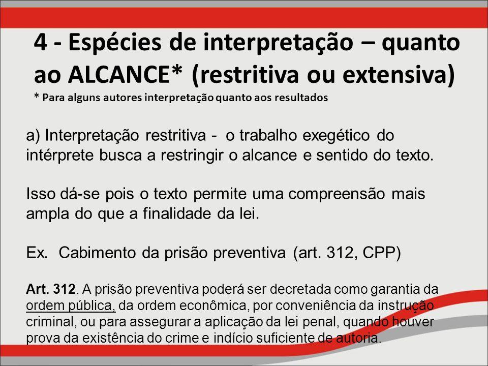 4 - Espécies de interpretação – quanto ao ALCANCE
