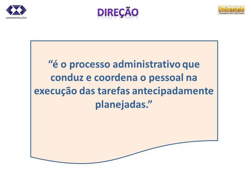 é o processo administrativo que conduz e coordena o pessoal na
