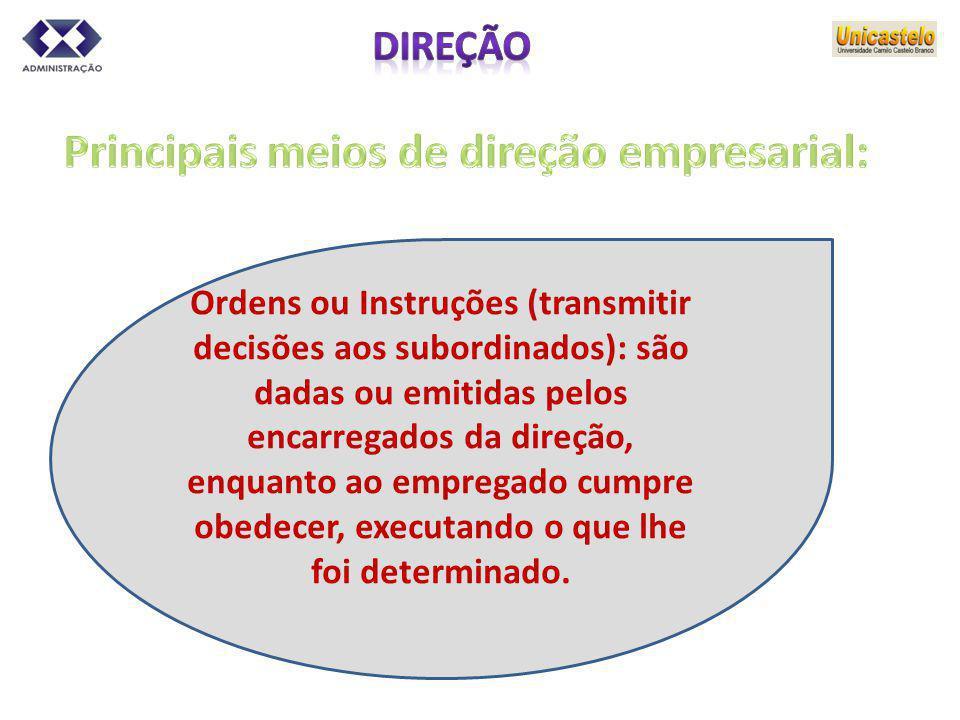 Principais meios de direção empresarial: