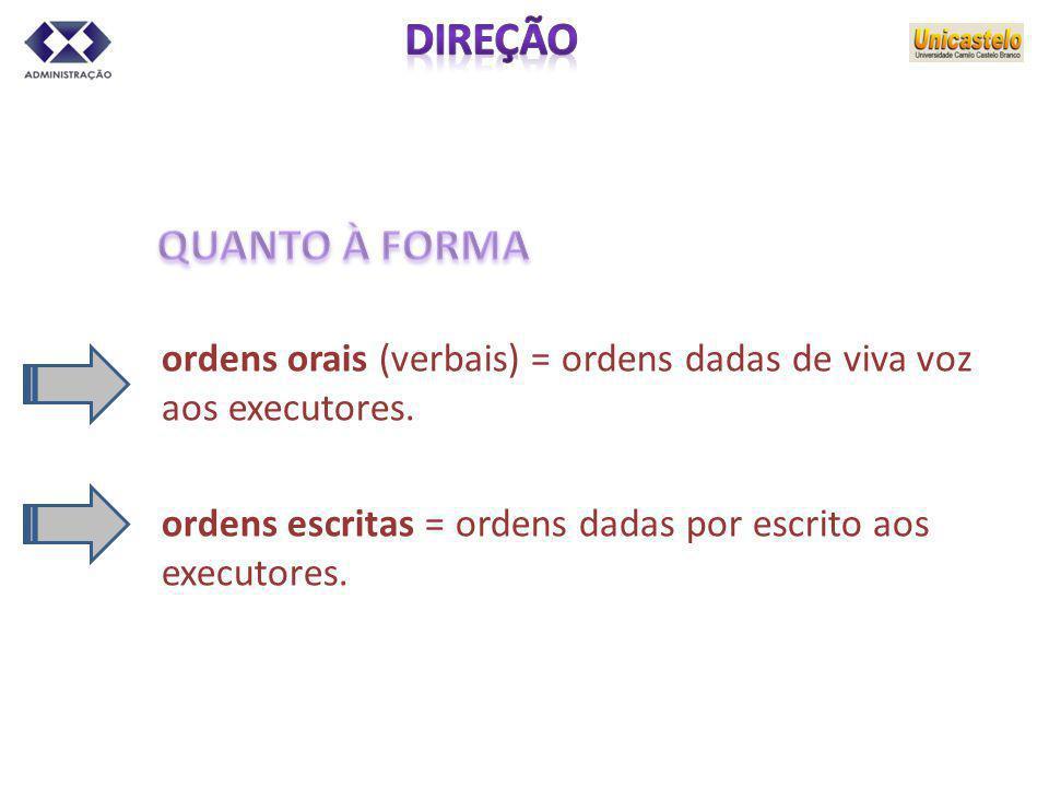 DIREÇÃO QUANTO À FORMA. ordens orais (verbais) = ordens dadas de viva voz aos executores.