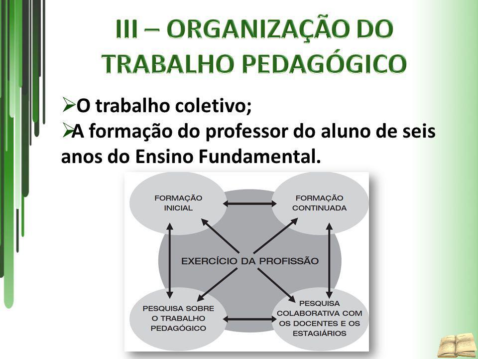 III – ORGANIZAÇÃO DO TRABALHO PEDAGÓGICO