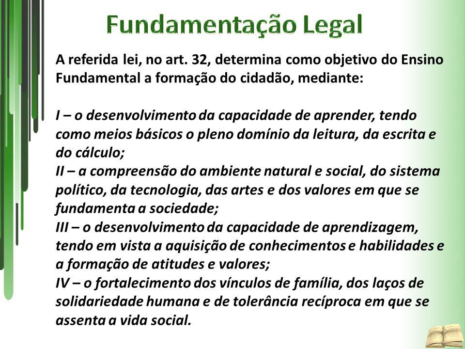 Fundamentação Legal A referida lei, no art. 32, determina como objetivo do Ensino Fundamental a formação do cidadão, mediante: