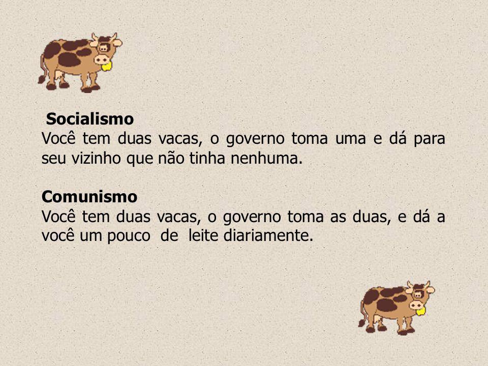 Socialismo Você tem duas vacas, o governo toma uma e dá para seu vizinho que não tinha nenhuma. Comunismo.