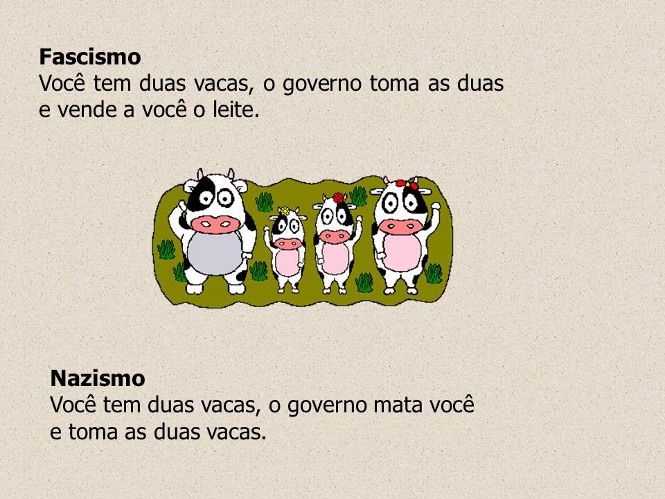 Fascismo Você tem duas vacas, o governo toma as duas e vende a você o leite. Nazismo.