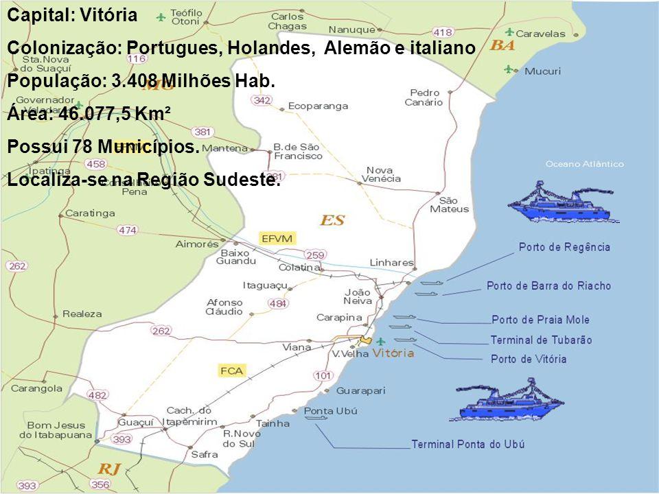 Capital: Vitória Colonização: Portugues, Holandes, Alemão e italiano. População: 3.408 Milhões Hab.