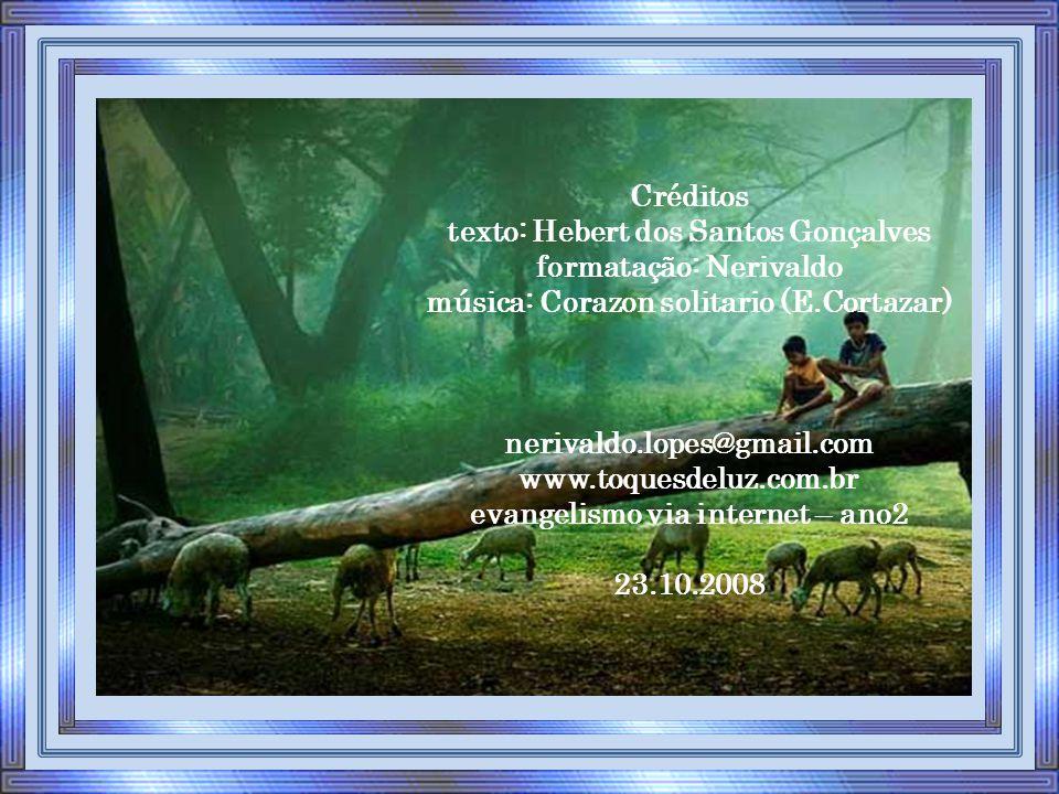 Créditos texto: Hebert dos Santos Gonçalves formatação: Nerivaldo música: Corazon solitario (E.Cortazar) nerivaldo.lopes@gmail.com www.toquesdeluz.com.br evangelismo via internet – ano2 23.10.2008