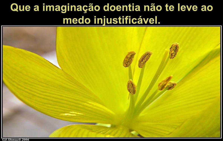 Que a imaginação doentia não te leve ao medo injustificável.