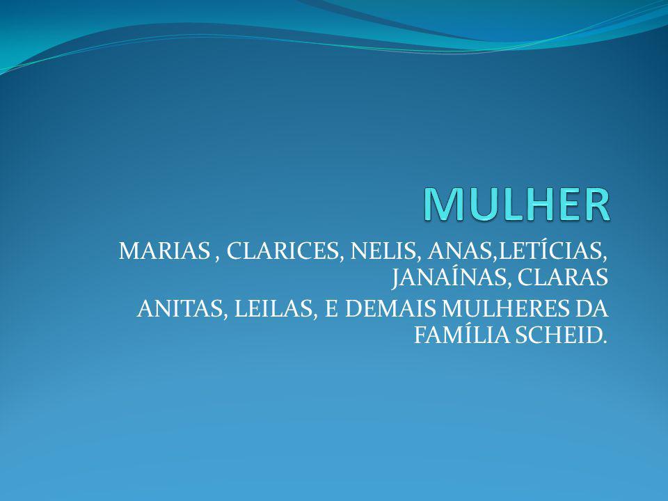 MULHER MARIAS , CLARICES, NELIS, ANAS,LETÍCIAS, JANAÍNAS, CLARAS