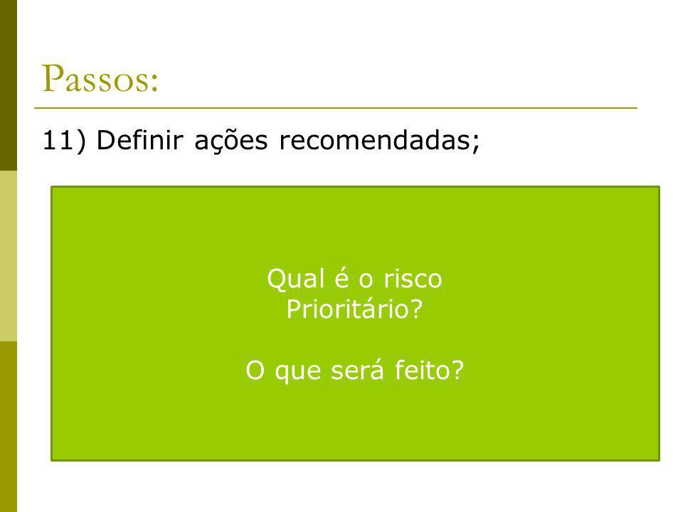 Passos: 11) Definir ações recomendadas; Qual é o risco Prioritário