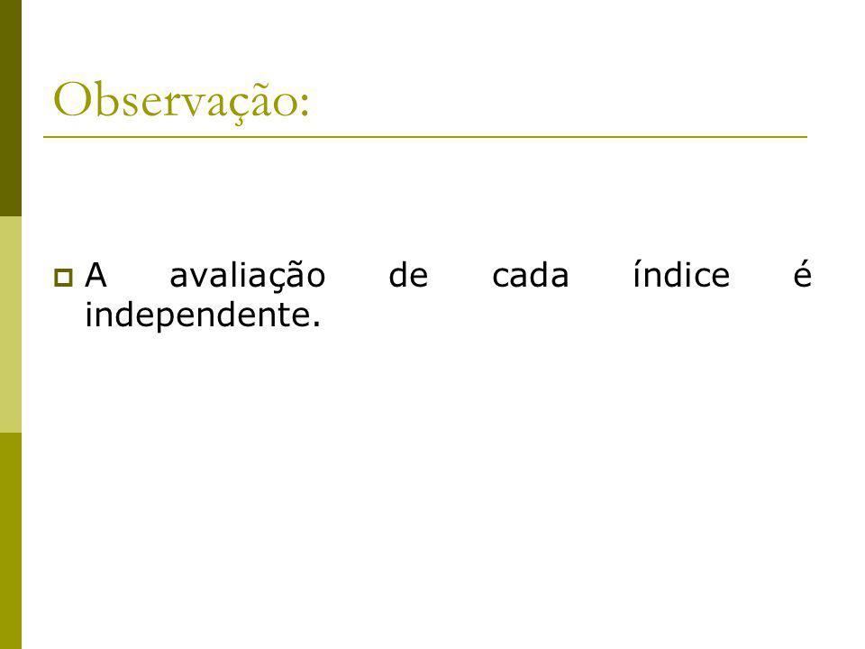 Observação: A avaliação de cada índice é independente.