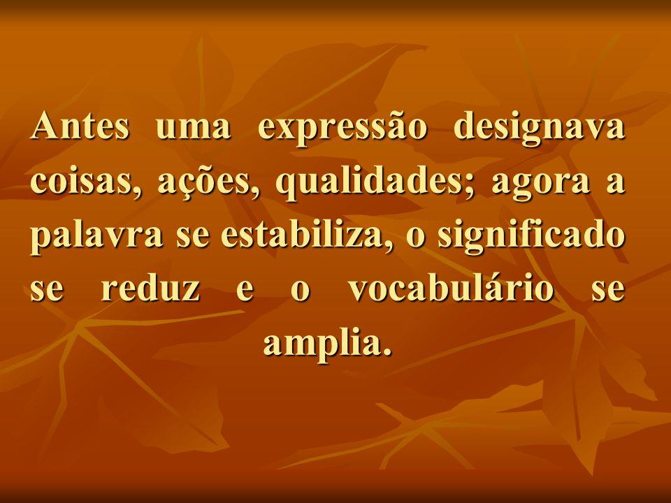 Antes uma expressão designava coisas, ações, qualidades; agora a palavra se estabiliza, o significado se reduz e o vocabulário se amplia.
