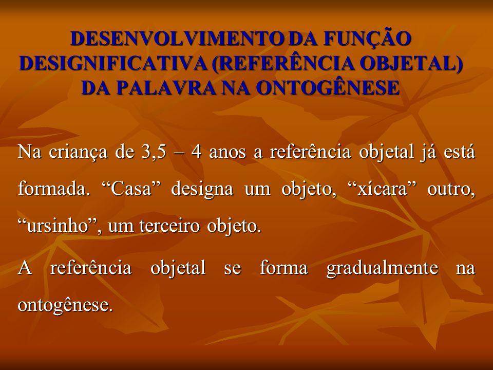 DESENVOLVIMENTO DA FUNÇÃO DESIGNIFICATIVA (REFERÊNCIA OBJETAL) DA PALAVRA NA ONTOGÊNESE