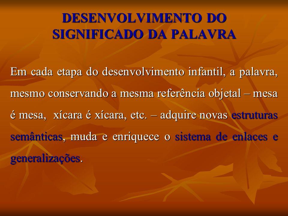 DESENVOLVIMENTO DO SIGNIFICADO DA PALAVRA