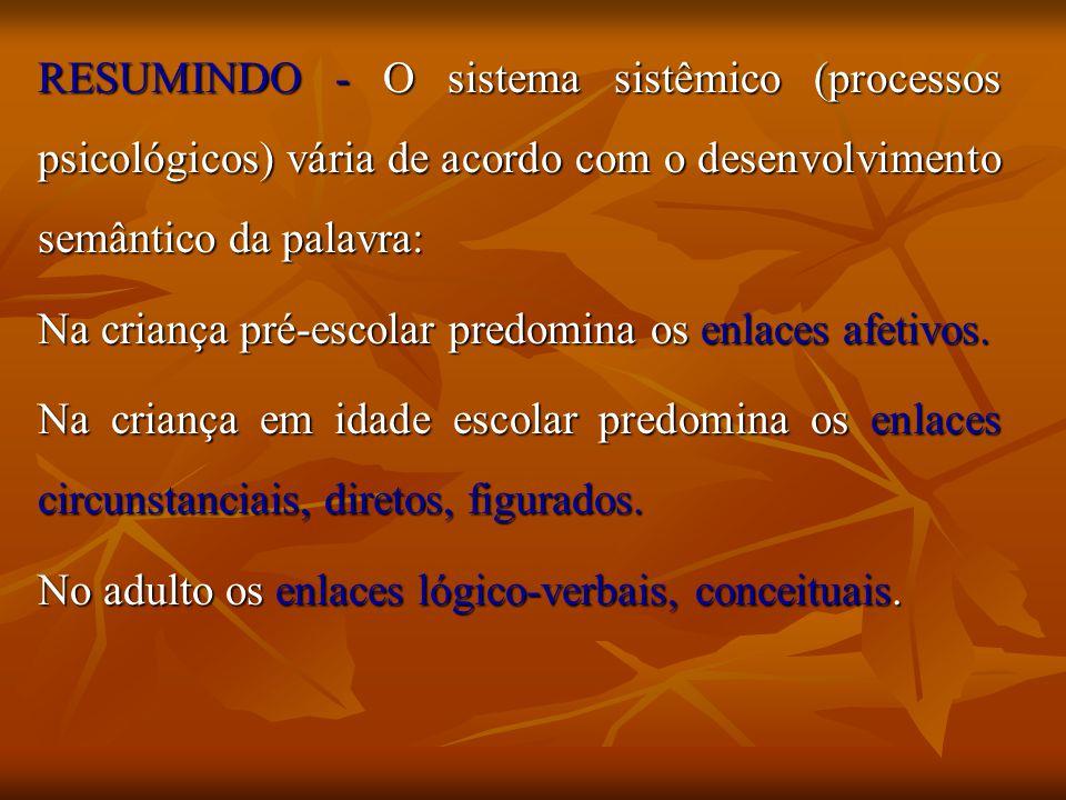 RESUMINDO - O sistema sistêmico (processos psicológicos) vária de acordo com o desenvolvimento semântico da palavra: