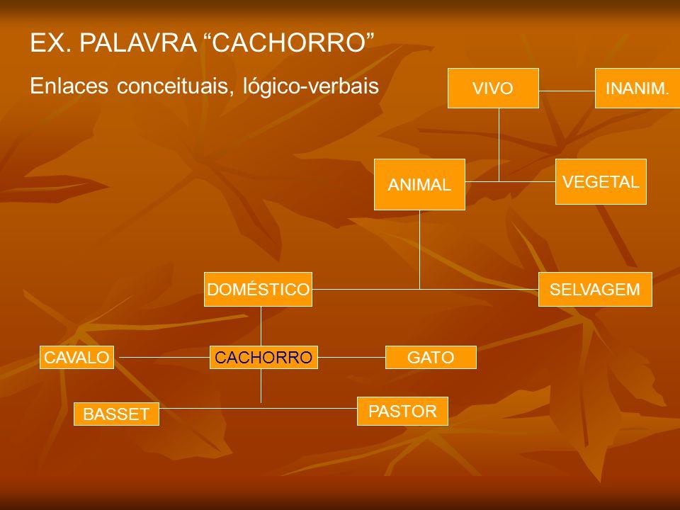EX. PALAVRA CACHORRO Enlaces conceituais, lógico-verbais VIVO