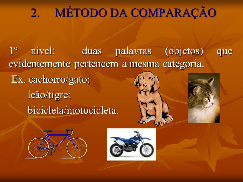 2. MÉTODO DA COMPARAÇÃO 1º nível: duas palavras (objetos) que evidentemente pertencem a mesma categoria.
