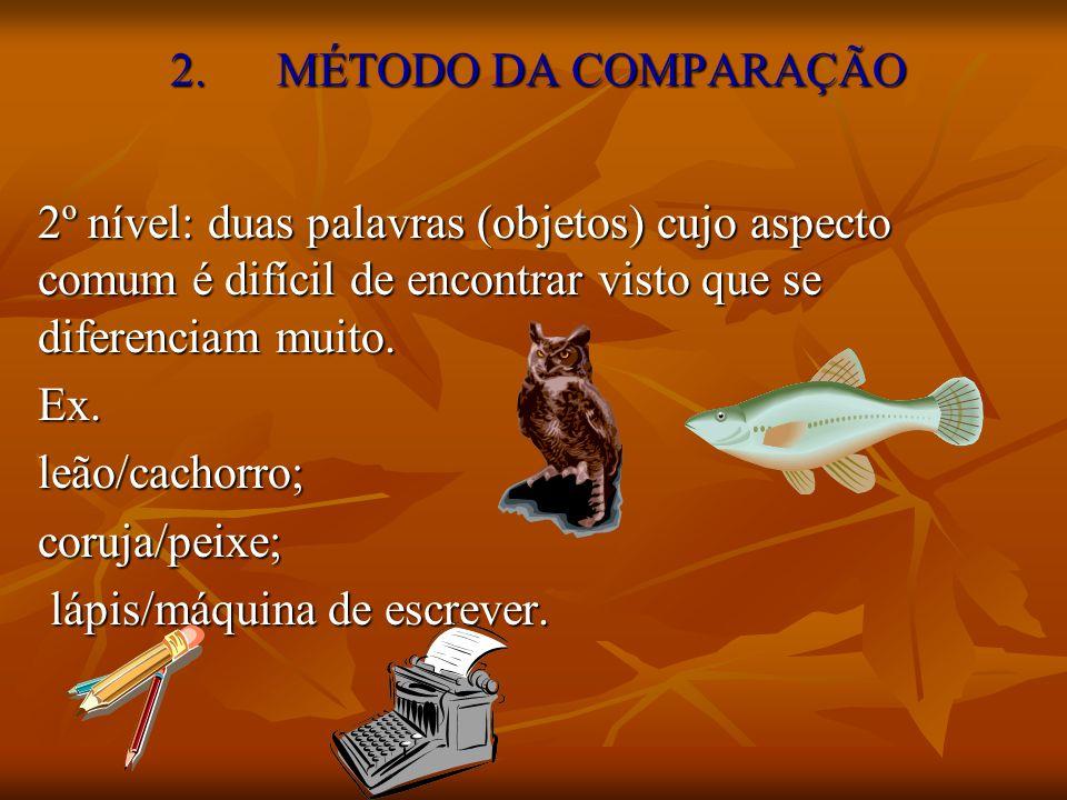 2. MÉTODO DA COMPARAÇÃO 2º nível: duas palavras (objetos) cujo aspecto comum é difícil de encontrar visto que se diferenciam muito.