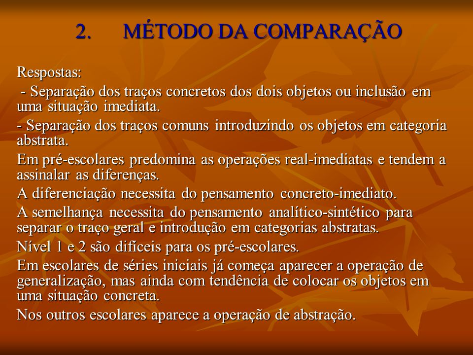 2. MÉTODO DA COMPARAÇÃO Respostas: