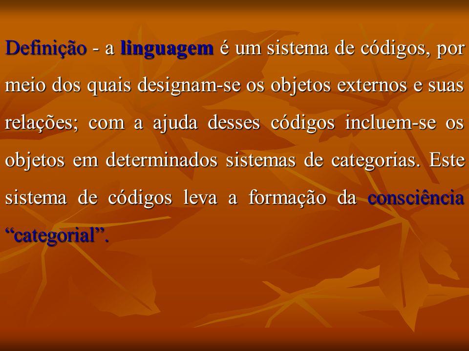 Definição - a linguagem é um sistema de códigos, por meio dos quais designam-se os objetos externos e suas relações; com a ajuda desses códigos incluem-se os objetos em determinados sistemas de categorias.