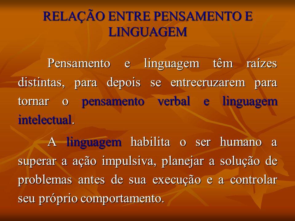RELAÇÃO ENTRE PENSAMENTO E LINGUAGEM